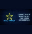 hello summer glowing neon sign with sea star vector image vector image