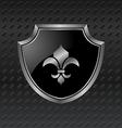 heraldic shield on metallic background - vector image vector image