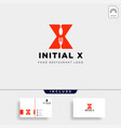 initial x food equipment simple logo template vector image vector image