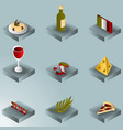 italy color gradient isometric icons vector image vector image