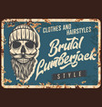 lumberjack skull beard metal rusty plate retro vector image vector image