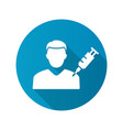 Man and syringe icon with long shadow for graphic