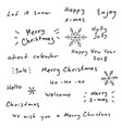 merry christmas and new year hand drawn lettering vector image vector image