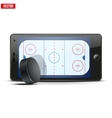 Mobile phone with ice hockey puck and field on the vector image vector image