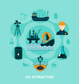 offshore oil extraction composition vector image vector image