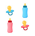 pacifier icons set flat vector image