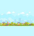 panoramic view of city playground in park vector image