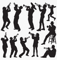 playing trumpet silhouettes vector image vector image