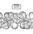 plum branch seamless vintage border hand draw vector image vector image