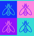 pop art line bee icon isolated on color background