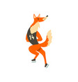 red fox skating on ice funny sportive wild animal vector image