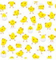 seamless easter pattern chicks in various poses vector image vector image