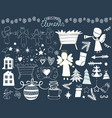 set of christmas icons with angels manger stars vector image