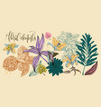 set of flowers and leaves in a realistic vector image