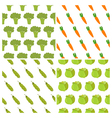 Set of vegetables seamless patterns Healthy food vector image vector image
