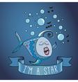 sing fish ribbon and slogan vector image