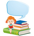 speech bubble template with girl reading vector image vector image