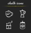 tea and coffee chalk icons set vector image