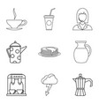 tea ceremony icons set outline style vector image