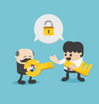 two businessmen holding key success vector image