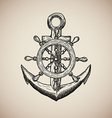 Vintage Marine Anchor with Steering Wheel isolated vector image vector image