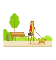 Woman Walking The Pet Dog On The Leash Part Of vector image vector image