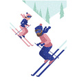 Young couple skiing vector image vector image