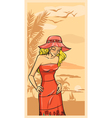 Summer beautiful girl in red dress and floppy hat vector image