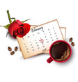 14 february calendar with red mark vector image vector image