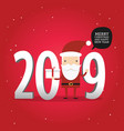 2019 new year and merry christmas with santa claus vector image vector image