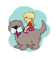 a little girl sitting on the back of her dog vector image