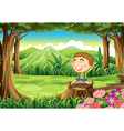 A stump at the woods with a cute little boy vector image vector image