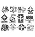 air travel tours aviation school icons set vector image