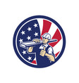 american lumber yard worker usa flag icon vector image vector image