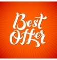 Best Offer Logo Best Offer print on T-shirt vector image vector image