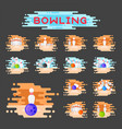 bowling emblem design template badge item vector image vector image