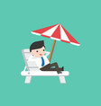 businessman relaxing on beach chair with umbrella vector image