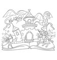 coloring fairy open book tale concept kids vector image vector image