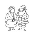 couple mr and mrs santa claus characters outline vector image vector image