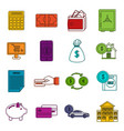 credit icons doodle set vector image vector image