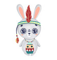 cute boho bunny with big eyes and feathers vector image