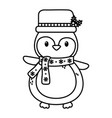 cute penguin with hat and scarf celebration merry vector image vector image