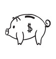 doodle piggy bank icon with dollar pattern vector image