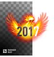 fiery cockerel on transparent background symbol vector image vector image
