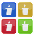 four square color icons hot fastfood drink smoke vector image