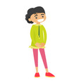 full length of little caucasian girl standing vector image