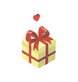 gift box with red ribbon isometric 3d icon vector image vector image