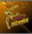 hachiman esport mascot logo design vector image vector image