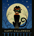 Halloween black cat and full moon