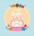 happy easter bunnies in basket floral dots vector image